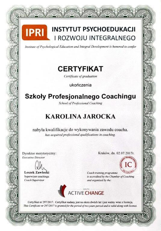 Certyfikat Coacha Karolina Jarocka